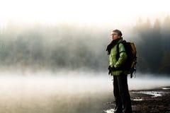 Hiking at lake Royalty Free Stock Photo