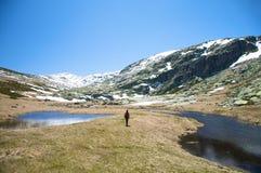 Hiking between lakes Royalty Free Stock Image