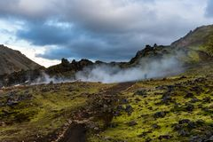 Hiking in Landmannalaugar stock photography