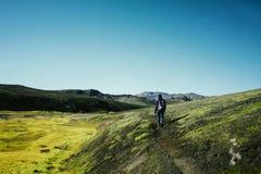 Hiking in Landmannalaugar, mountain landscape in Iceland Stock Photography