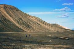 Hiking in Landmannalaugar, mountain landscape in Iceland Stock Images