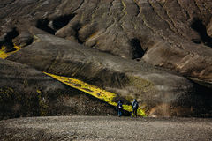 Hiking in Landmannalaugar, mountain landscape in Iceland Royalty Free Stock Photography
