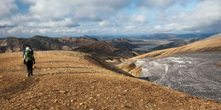Hiking in Landmannalaugar mountains Royalty Free Stock Photography