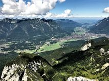 Hiking in Bavaria Germany Mountain Views/ Wandern in Bayern Berge. Hiking and landscape in Bavaria Germany Mountain Views/ Wandern in Bayern Berge Stock Photos