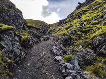 Hiking through the lava field Royalty Free Stock Photography