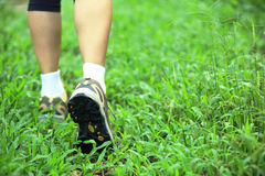 Hiking legs on green grass Royalty Free Stock Photos