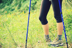 Hiking legs on green grass Royalty Free Stock Image