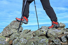 Hiking legs in mountains, exercise outdoors Royalty Free Stock Photo
