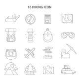 Hiking Line Icons Set Stock Photos