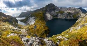 Hiking the Lofoten. Hiking on the Lofoten Islands, Moskenesoya, Norway Royalty Free Stock Images