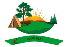 Hiking logo, cdr vector. Hiking logo with tent, trees, mountains and banner for text, isolated on white, vector format vector illustration