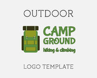 Hiking Logo Design. Template. Adventure symbol vector concept. Backpack with sign. Unique unusual logo, icon, badge idea for recreation summer theme. Mountain Royalty Free Stock Photo