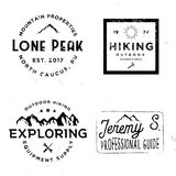 Hiking logotypes in vintage style, retro badges. On wilderness theme Stock Images