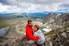 Hiking lovers stock image
