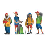 Hiking man characters vector set. Royalty Free Stock Photography