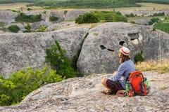 Hiking man having rest Stock Photography