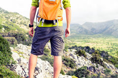 Hiking man looking at beautiful mountains view Royalty Free Stock Photography