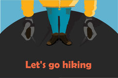 Hiking. Man hiking, people hiking, couple hiking, hiking boots stock illustration