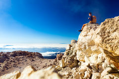 Hiking man or trail runner looking at view in mountains Royalty Free Stock Photography