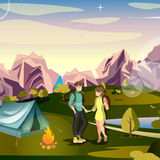Hiking man and woman, tent, mountain. Stock Photography