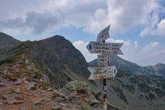 Hiking marker in Romania stock photo