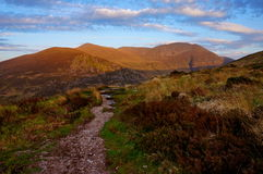 Hiking molls gap kerry ireland. Sunset Royalty Free Stock Photography