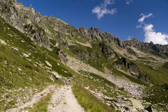 Hiking in the Mont Blanc massif Stock Images