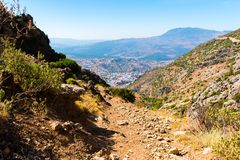 Hiking in Morocco`s Rif Mountains under Chefchaouen city, Morocco, Africa. Hiking in Morocco`s Rif Mountains under Chefchaouen city, Morocco in Africa stock image
