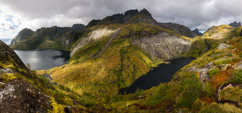 Hiking on Moskenesoya, Lofoten. Islands, Norway Royalty Free Stock Photo
