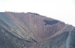 Hiking on Mount Etna, Etna national park, Sicily, Italy royalty free stock photography