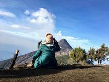Hiking beside mount Fuego along the adjacent mount acatenango. royalty free stock photography
