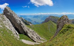 Hiking on mount Pilatus, Switzerland Royalty Free Stock Image