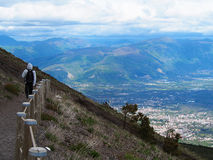 Hiking on Mount Vesuvius. Descending from Mount Vesuvius enjoying the scenery Royalty Free Stock Photo