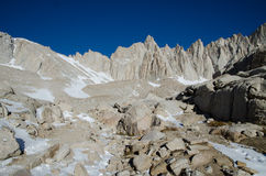 Hiking Mount Whitney. Highest highest summit in California and contiguous USA Stock Photo
