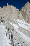 Hiking Mount Whitney. Highest highest summit in California and contiguous USA Royalty Free Stock Photos
