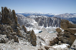 Hiking Mount Whitney. Highest summit in California and contiguous USA Stock Photos