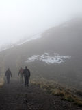 Hiking a Mountain in the Fog Stock Photography