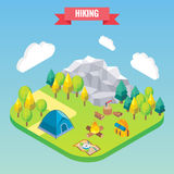 Hiking in mountain forest isometric concept. Vector illustration in flat 3d style. Outdoor activity.  Royalty Free Stock Photography