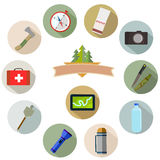 Hiking and mountain icons. Stock Photography