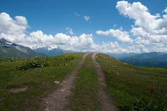 Hiking in mountain Stock Images
