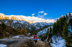 Hiking on mountain peak. Pakistan stock photo