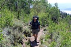 Hiking a mountain trail Royalty Free Stock Photos