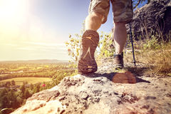Hiking on a mountain trail Stock Image