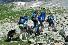 Hiking in mountain wally. Royalty Free Stock Photography