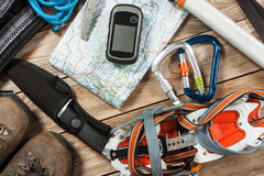 Hiking and mountaineering stuff. Royalty Free Stock Photography