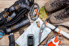Hiking and mountaineering stuff. Royalty Free Stock Images