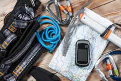 Hiking and mountaineering stuff. Stock Photos