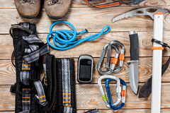 Hiking and mountaineering stuff. Stock Photography