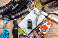 Hiking and mountaineering stuff. Royalty Free Stock Photo