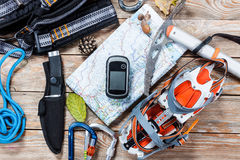 Hiking and mountaineering stuff. Royalty Free Stock Photos